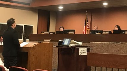 The El Paso County Commissioners Court is shown during a meeting in 2017.