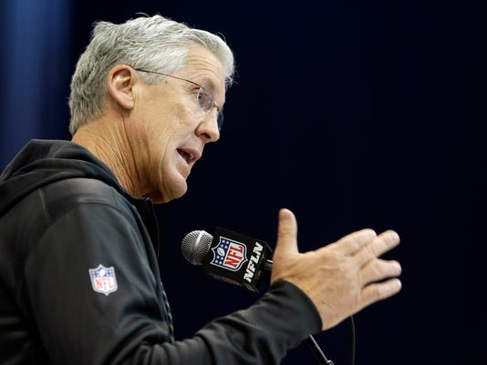 Seattle Seahawks head coach Pete Carroll speaks during a press conference at the NFL Combine in Indianapolis, Thursday, March 2, 2017. (AP Photo/Michael Conroy)