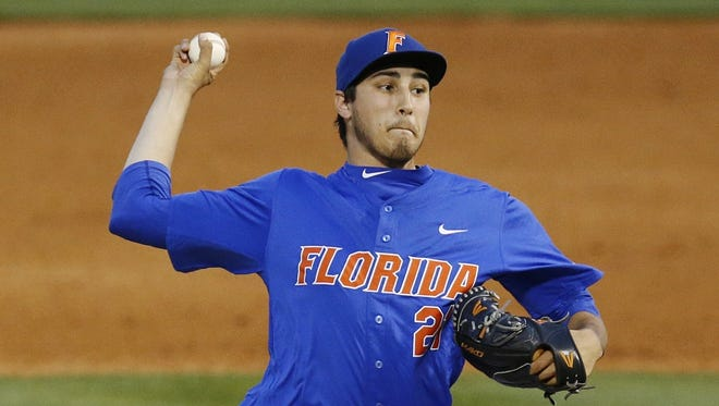 In this May 27, 2016, file photo, Florida pitcher Alex Faedo delivers a ball against Mississippi State during the fourth inning of the SEC tournament game at the Hoover Met in Hoover, Ala.