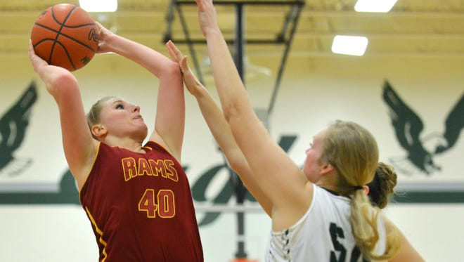 Galesburg-Augusta's Madelyne Standley shoots for two points during their matchup against Olivet Tuesday night.