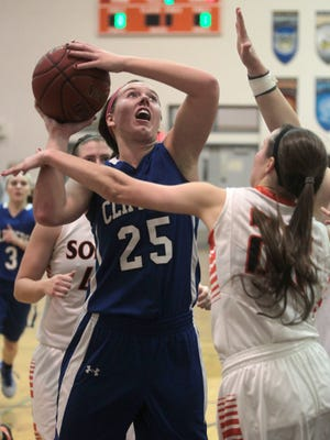 Clear Creek Amana's Hanna Stokes goes up for a shot against Solon Tuesday. Stokes finished with 16 points and 10 rebounds.