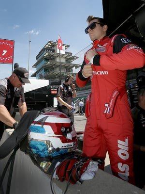Schmidt Peterson Motorsports IndyCar driver Mikhail Aleshin (7) suites up for practice for the Indianapolis 500 Wednesday, May 17, 2017, afternoon at the Indianapolis Motor Speedway.