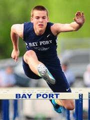Bay Port senior Zach Lorbeck leads the area boys outdoor track and field honor roll in the 110 meter hurdles, high jump and long jump. His long jump of 22 feet, 9½ inches leads the state honor roll.