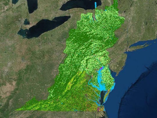 The almost 100,000 acres of the Chesapeake Bay Watershed, as mapped by the Chesapeake Conservancy, stretches from New York to Virginia. The map is available to explore through an online tool available at chesapeakeconservancy.org