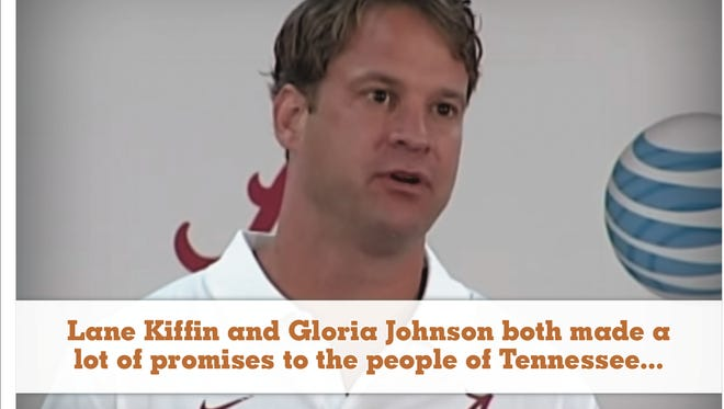 A Tennesee political action committee sent a mailer comparing incumbent Gloria Johnson to former Vols coach Lane Kiffin.