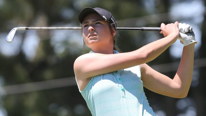 Ava Pulley watches her tee shot on 17th hole during the opening event of First Tee of Canton Junior Tour at Pleasant View on Monday, June 8, 2020. She competed in the girls 13-15 year old division.