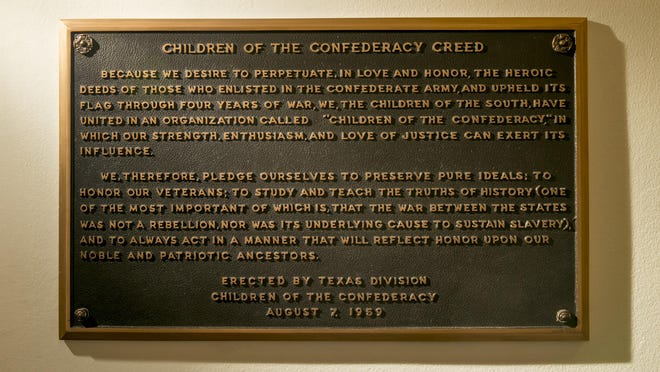 """The """"Children of the Confederacy Creed"""" plaque was removed from the Texas state  Capitol in 2019."""