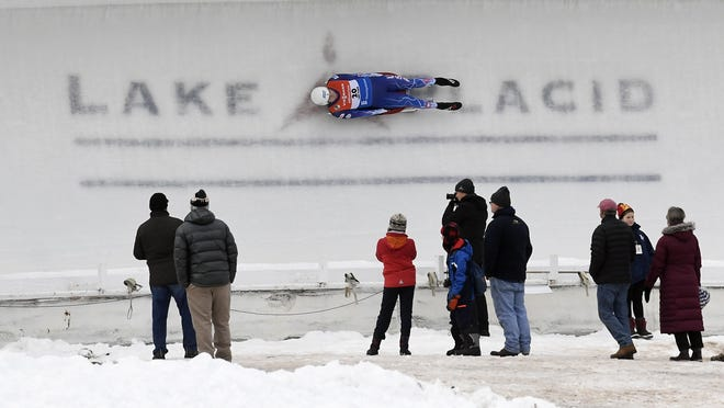 Tucker West competes in the men's luge World Cup event in 2018, in Lake Placid. The International Luge Federation said Wednesday it will not hold a World Cup competition in Lake Placid this year because of concerns about the coronavirus pandemic.