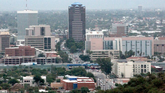 This looking east view from Tumamoc Hill shows Congress Street as it cuts through the downtown area. The photo was taken on Monday, October 27, 2014, in Tucson, Ariz. Photo by A.E. Araiza/ Arizona Daily Star