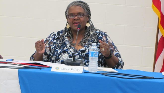 Jackie Brisco, speaking during a candidates forum Thursday, June 11, was appointed to the Cape Henlopen school board.