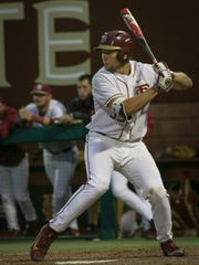 .Florida State sophomore catcher Cal Raleigh looks for a pitch to hit during the Seminoles 9-8 victory over Pacific on Friday evening at Dick Howser Stadium.