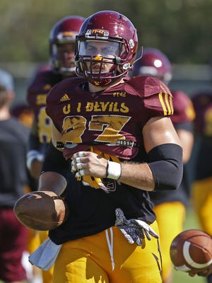Arizona State tight end Kody Kohlr uns with the football during practice in Tempe on August 15, 2016.