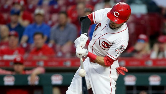 Cincinnati Reds center fielder Billy Hamilton (6) doubles to lead off the sixth inning during a National League baseball game between the Milwaukee Brewers and the Cincinnati Reds, Monday, April 30, 2018, at Great American Ball Park in Cincinnati.