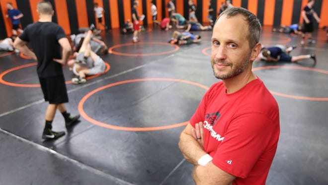 Rob Bronson, a former Sprague assistant wrestling coach who now works with Athletes in Action Wrestling, visits Sprague High School on Tuesday, Nov. 29, 2016. He takes wrestlers throughout the world to compete and share their faith.