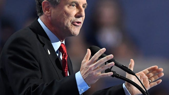 Sen. Sherrod Brown, D-Ohio speaks during the final day of the Democratic National Convention in Philadelphia , Thursday, July 28, 2016. (AP Photo/Mark J. Terrill)