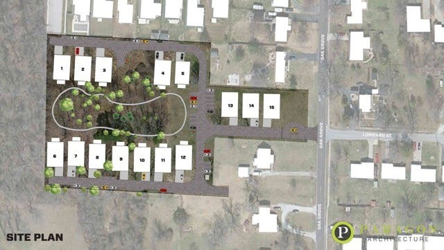 """A rendering of the proposed Oak Grove Commons gated community, which could be Springfield's first """"pocket neighborhood."""""""
