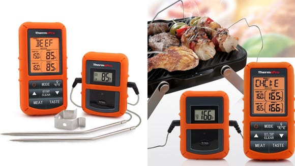 Check the temperature of two meats at once with this