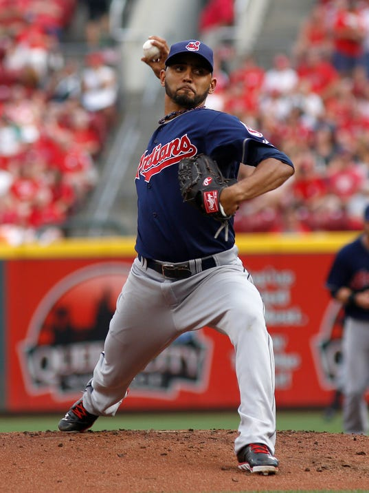 Cleveland Indians starting pitcher Danny Salazar throws against the Cincinnati Reds during the first inning of a baseball game, Wednesday, Aug. 6, 2014, in Cincinnati. (AP Photo/David Kohl)