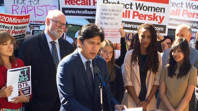 California State Senate President Kevin De Leon calls for the removal of Santa Clara County Judge Aaron Persky from the bench at a protest outside the Santa Clara County Jail in San Jose, Calif. on Sept. 2, 2016. Willingham and others called for the recall of Persky because of the six-month jail term he sentenced Brock Turner to for a sexual assault conviction. Turner was released from the jail earlier Friday after serving half of his six month sentence. (AP Photo/Paul Elias) ORG XMIT: RPPE103
