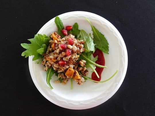 Ancient grain power salad with sweet potato, Asian