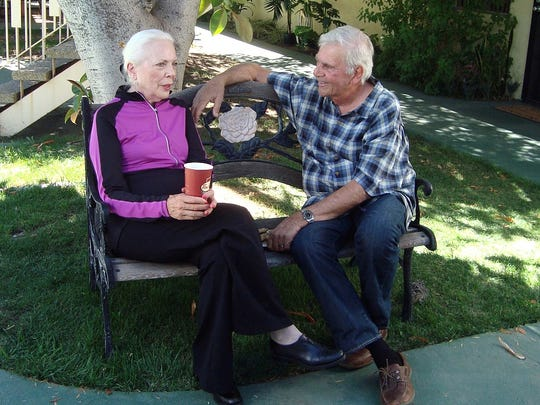 Barbara Bain and Alex Rocco on the set of 'Silver Skies' (2015)