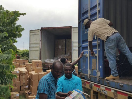 Containers bring InterVol medical supplies to Haiti after Hurricane Matthew in 2016.