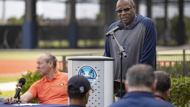 Houston Astros manager Dusty Baker, 71, seen here at spring training in 2020, received his second vaccine shot two weeks ago.
