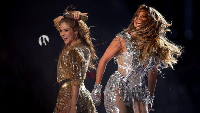 Shakira and Jennifer Lopez perform during the Super Bowl LIV halftime show at Hard Rock Stadium in Miami Gardens, Feb. 2, 2020.