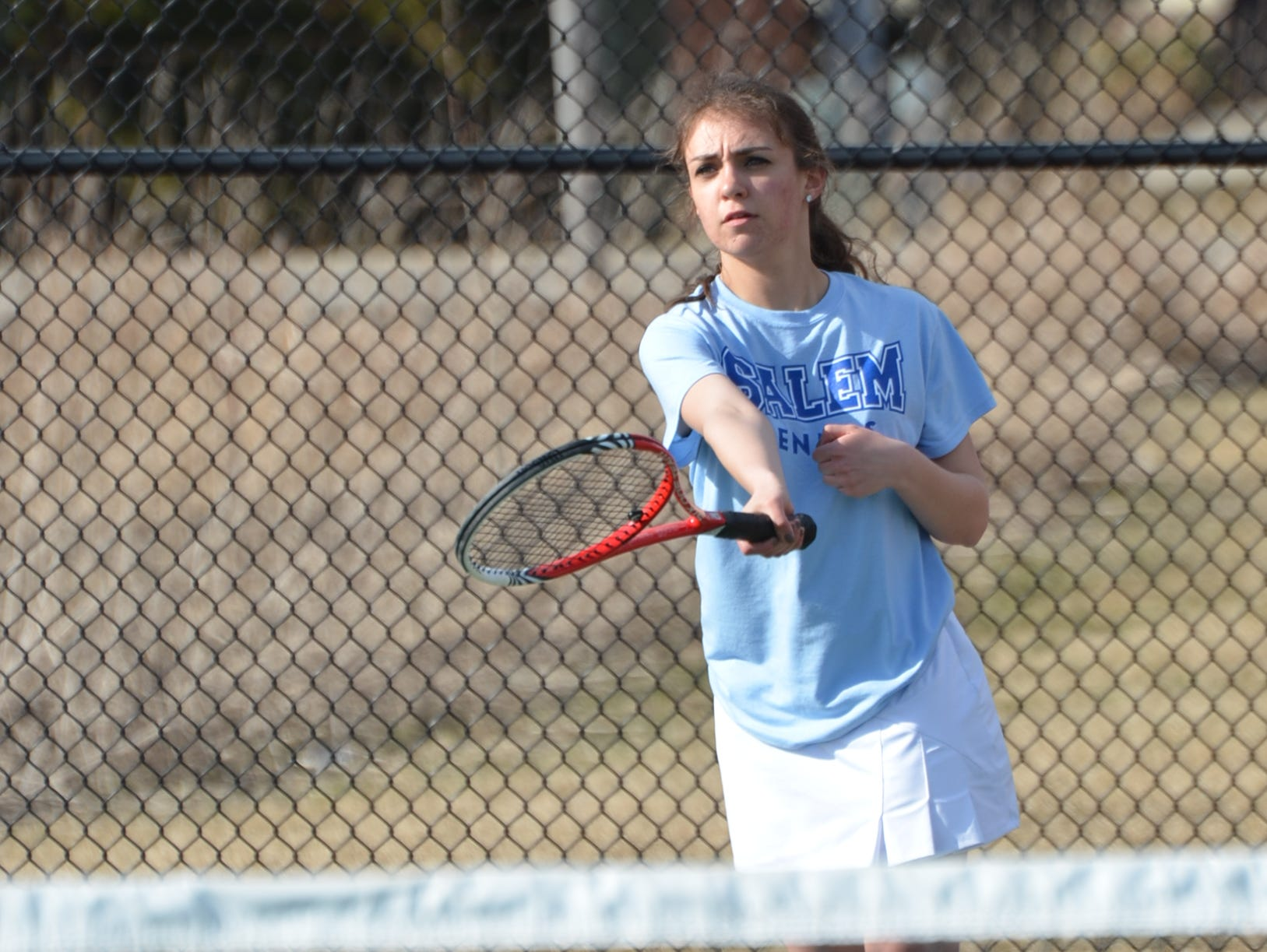 Kylie Enright delivers a shot for Salem. She is a solid performer at No. 4 singles for the Rocks.