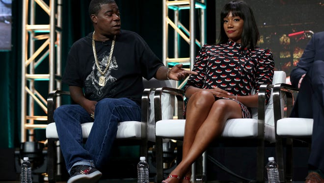 Tracy Morgan and Tiffany Haddish, co-stars of TBS comedy 'The Last O.G.,' speak to TV critics in Los Angeles in July 2017.