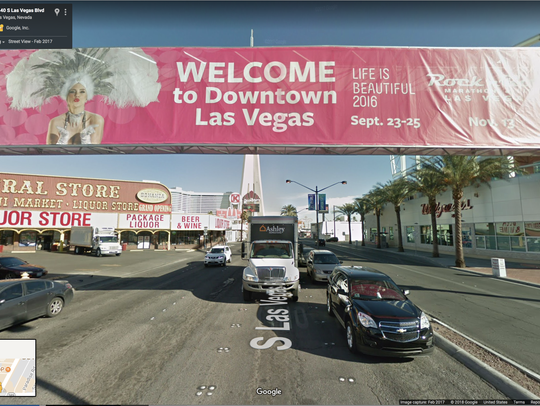 "Google Street View of ""Welcome to Downtown Las Vegas"""