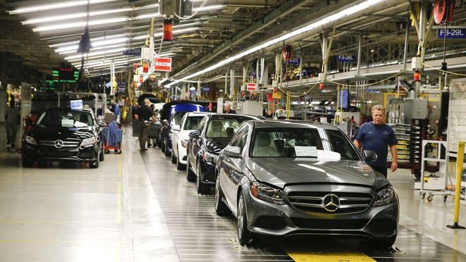 A 2018 C-Class sedan nears the end of the assembly line inside the Mercedes-Benz U.S. International plant in Vance in this file photo from Sept. 12, 2017. The company announced last week that C-Class production in Tuscaloosa has ended in favor of SUVs.