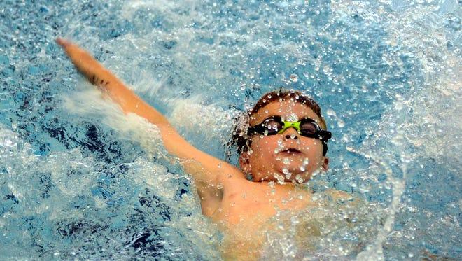 Gallatin Civic Center 9-year-old Caden Adams finished sixth in the boys 9-10-year-old 25-yard backstroke.
