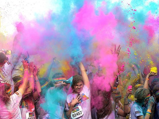 Run with color for the Wausau East girls soccer team Saturday morning
