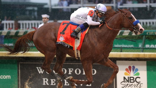 Justify, ridden by Mike Smith and trained by Bob Baffert, wins the 144th Kentucky Derby.  May 5, 2018