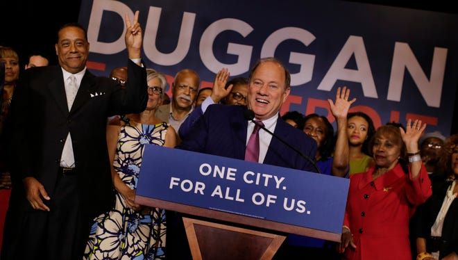 Detroit Mayor Mike Duggan talks to a crowd of supporters during the primaries at the Hotel St. Regis in Detroit on Tuesday, August 8, 2017.