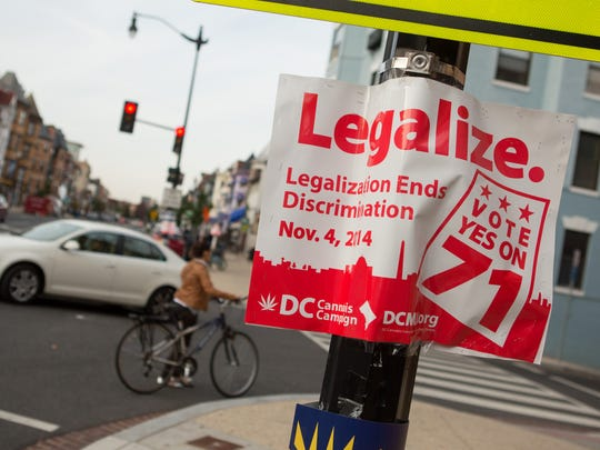 A sign promoting the D.C. Cannabis Campaign's initiative