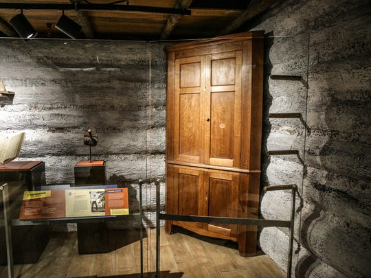 A federal style corner cabinet handcrafted by Thomas Lincoln in Spencer County Indiana around 1820 is on loan to the Indiana State Museum from David Lutz on Wednesday, June 21, 2017.