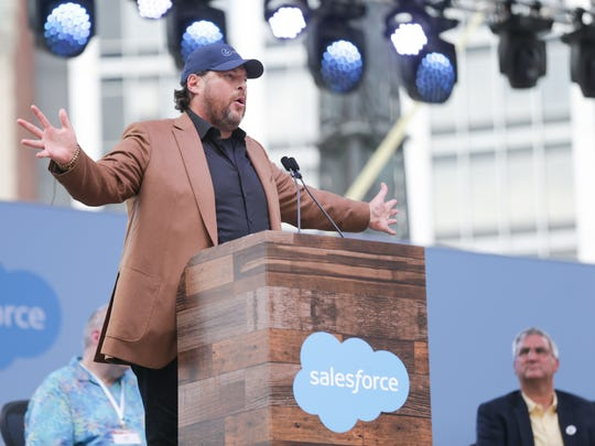 Salesforce CEO Marc Benioff speaks during the opening