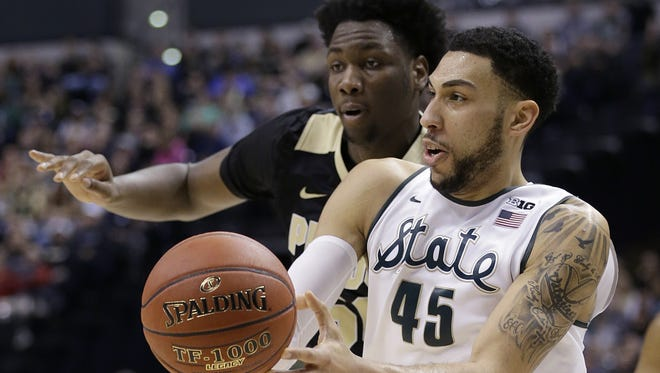 Will Michigan State's  Denzel Valentine (45) still be around for the Pacers to pick at No. 20 during Thursday's NBA Draft?