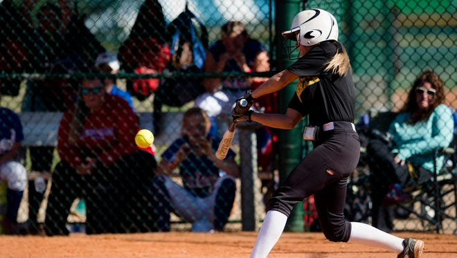 Autauga Academy's Karsyn Kemsel (3) hits a walk off home run to win the AISA State Championship 10-9 against Macon East on Saturday, May 6, 2017, in Montgomery, Ala.