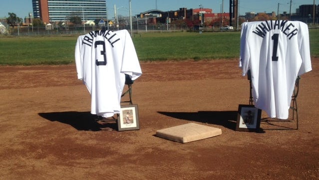 The Navin Field grounds crew honored retired Detroit Tigers Alan Trammell and Lou Whitaker, a double-play combination from 1977-95, on the grounds of the old Tiger Stadium on Sunday, October, 25, 2015.