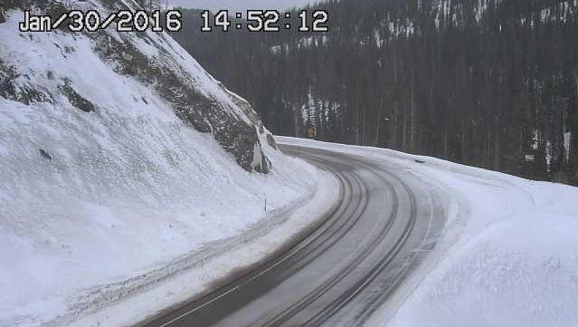 Colorado Department of Transportation show a mostly clear Colo. Highway 14 near Cameron Pass Saturday afternoon. Heavy snow is forecast in the mountains and potentially along the Front Range over the next several days.