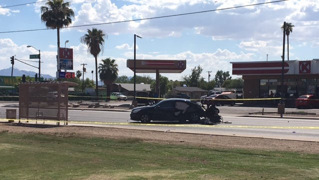 This is one of the two vehicles that collided near 35th Avenue and Roosevelt Street in Phoenix on Aug. 30, 2016. The crash sent it onto the sidewalk, striking a pedestrian who later died at a hospital.