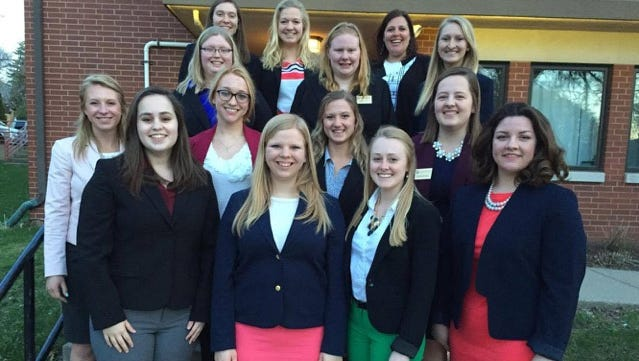 Members of the Association of Women in Agriculture 2017-18 office team are (from left, front) Shelby Brendler, Sara Griswold, Mariah Martin, Maddy Selner; (row two) Emily Matzke, Amber Dammen, Gretta Binversie, Kristen Broege; (row three) Taylor Theony, Bailey Fritsch, Jessica Wendt; (back) Stephanie Thiel, Ally Ingles and advisor, Liz Matzke. Not pictured are Ciera Ballmer, Abigail Martin, Brooke Moore and Micheala Slind.