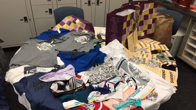 Evidence seized by Ventura County Sheriff's detectives after a retail theft crew was arrested at a Victoria's Secret in Thousand Oaks.