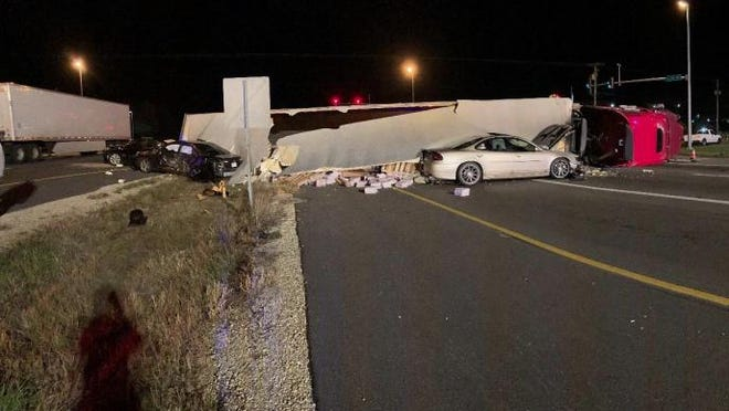 A semitrailer struck three other vehicles before overturning near the intersection of Illinois 251 and Bridge Street on Wednesday, Oct. 28, 2020, in Roscoe.