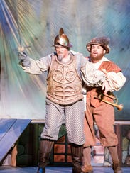 """Corey McKern, left, and Orin Strunk fine-tune their roles as """"Don Quixote"""" and """"Sancho"""" during dress rehearsals Wednesday for Pensacola Opera's production of """"Man of La Mancha."""" The last performance is Sunday at the Saenger Theatre."""