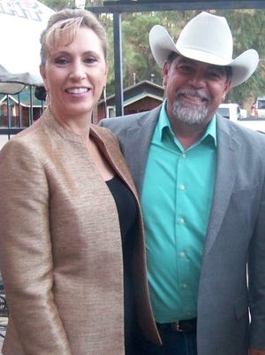 """Incumbent senator Ted Barela, along with wife Janice Barela, attended a """"Porch Party"""" Thursday at Dream Catchers in Ruidoso."""