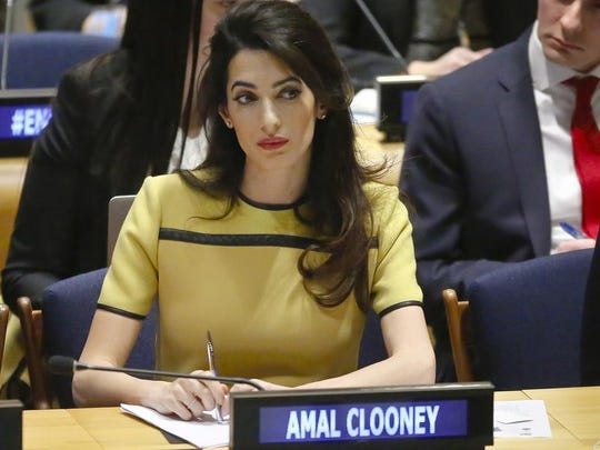 In this March 9, 2017 photo, human rights lawyer Amal Clooney listens during a United Nations human rights meeting at U.N. headquarters. Clooney is scheduled to speak at Vanderbilt's Senior Day on Thursday, May 10, 2018.